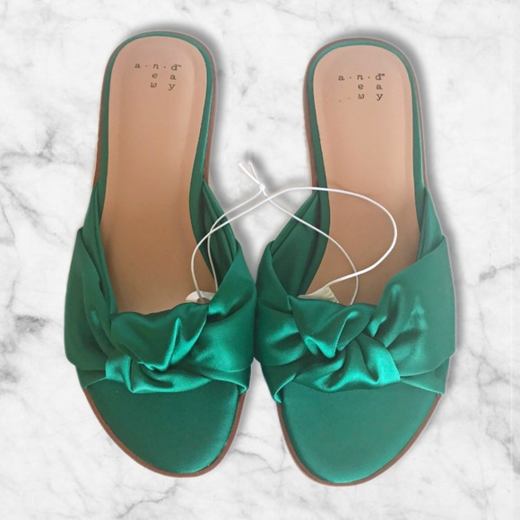 eb4c232f5237 Green Stacia Wide Width Knotted Satin Slide Sandal